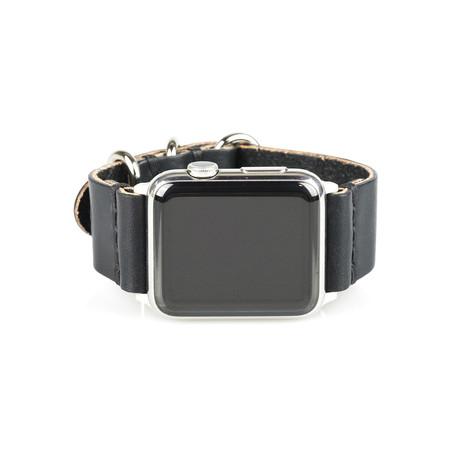 Apple Watch Strap // Black + Stainless Steel Silver (Small/Medium)
