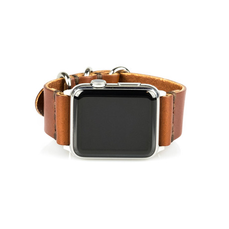 Apple Watch Strap // Whiskey Brown + Stainless Steel Silver (Small/Medium)