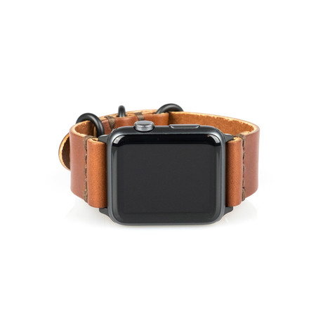 Apple Watch Strap // Whiskey Brown + Space Grey (Small/Medium)