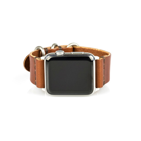 Apple Watch Strap // Whiskey Brown + Silver Sport (Small/Medium)
