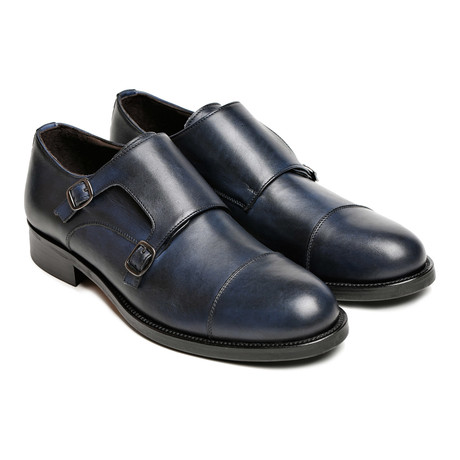Cap-Toe Double Monkstrap // Navy
