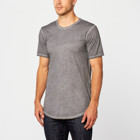 Oil Washed Side Zip Tee // Grey