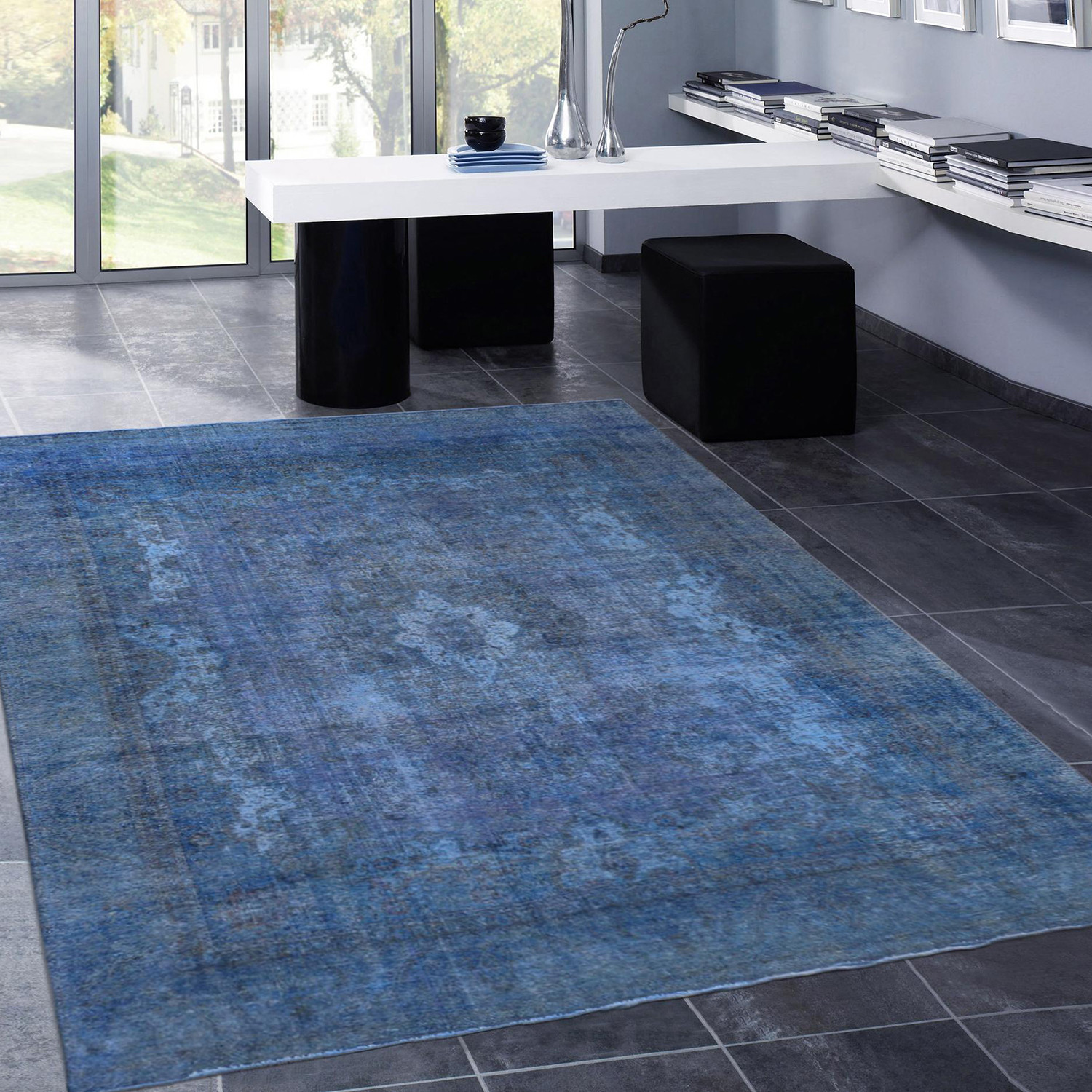 vintage overdye wool rug blue 9 39 6 l x 6 39 4 w pasargad carpets touch of modern. Black Bedroom Furniture Sets. Home Design Ideas