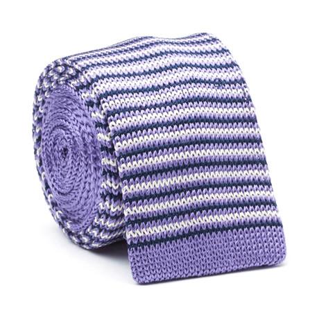 Knit Peidmont Tie //Purple + White Stripe