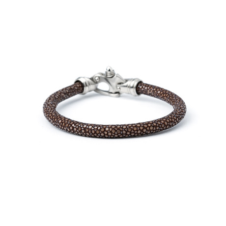 Brown Stingray + Silver Clasp