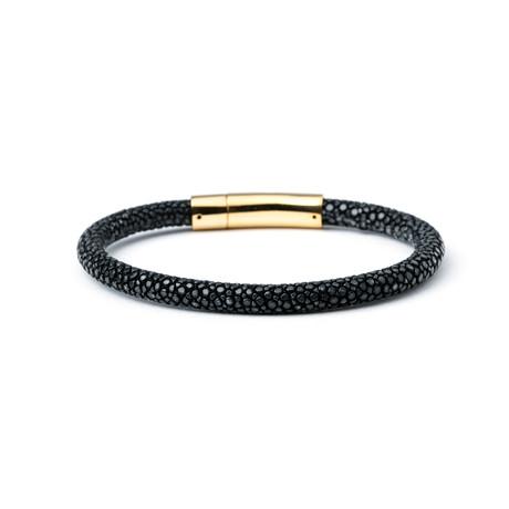Black Stingray + Gold Clasp