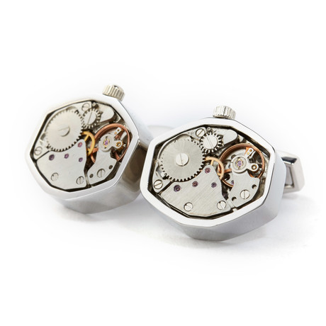 Royce Watch Cufflinks // Chrome