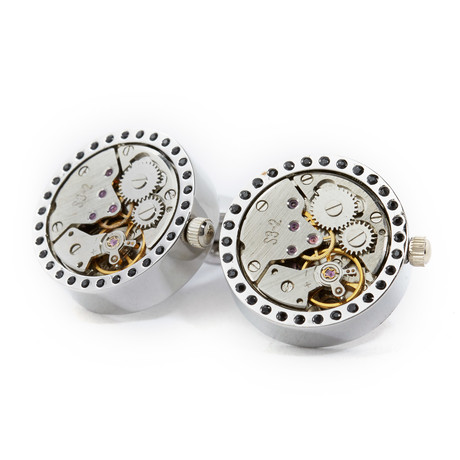 Tide Watch Cufflinks // Silver
