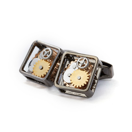 Skeleton Watch Cufflinks // Gunmetal