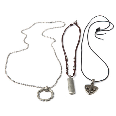 Funky Pewter Pendant Necklace Set