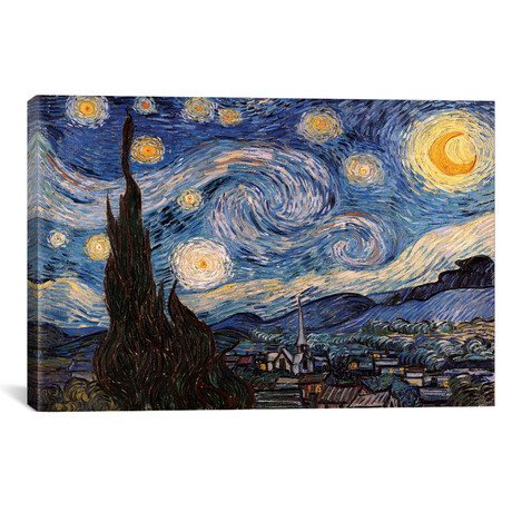 "The Starry Night // Vincent van Gogh (18""W x 12""H x 0.75""D)"