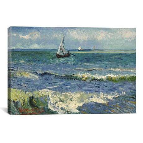 """Seascape Near Les Saintes Maries de la Mer // Vincent van Gogh (40""""W x 26""""H x 1.5""""D)"""