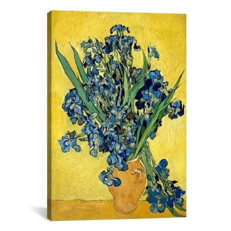 "Vase With Irises Against a Yellow Background // Vincent van Gogh // 1890 (18""W x 26""H x 0.75""D)"