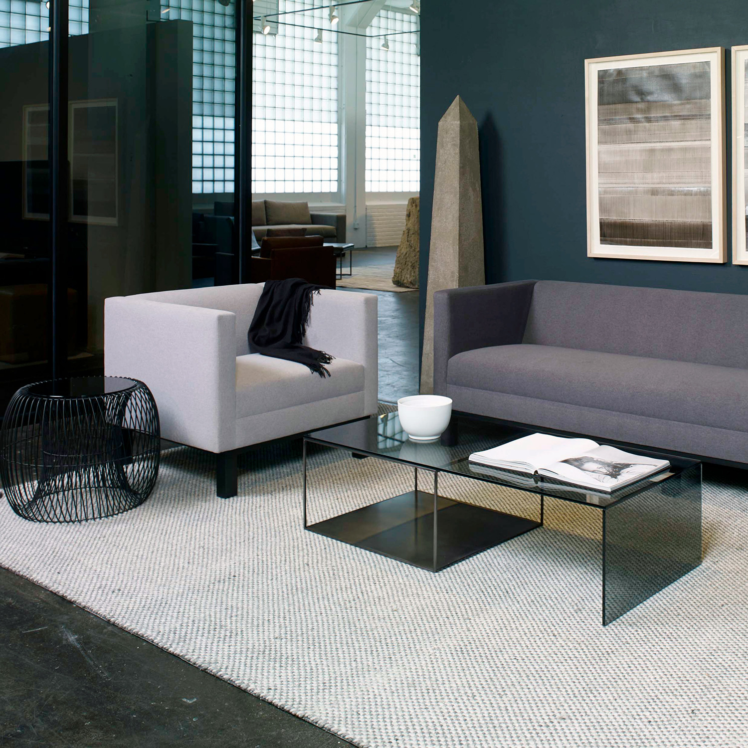wire glass cocktail table calvin klein home touch of. Black Bedroom Furniture Sets. Home Design Ideas