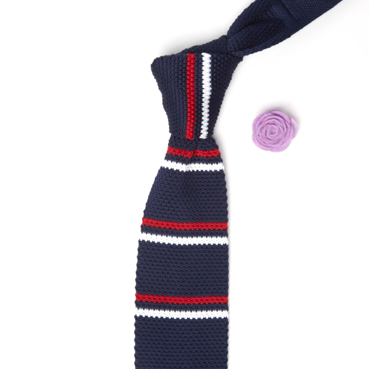 Knit Tie Lapel Flower Navy Red White Stripes Pink Lapel
