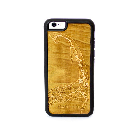 Engraved wooden case cape cod iphone 5 se cut maps for Case modello cape cod