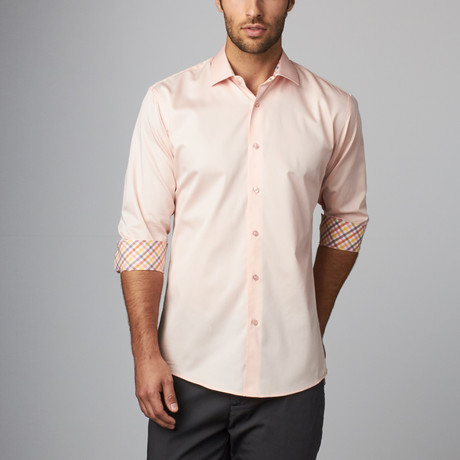 Plaid Placket Button-Up Shirt // Peach