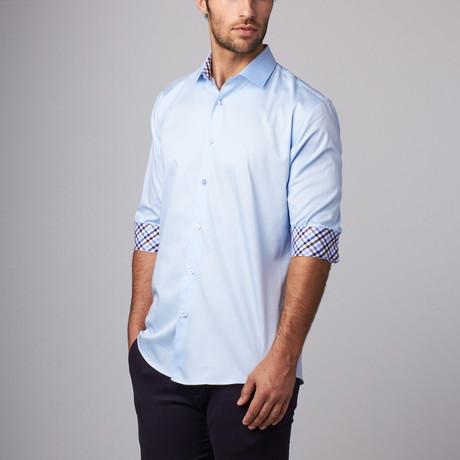 Plaid Placket Button-Up Shirt // Blue (S)
