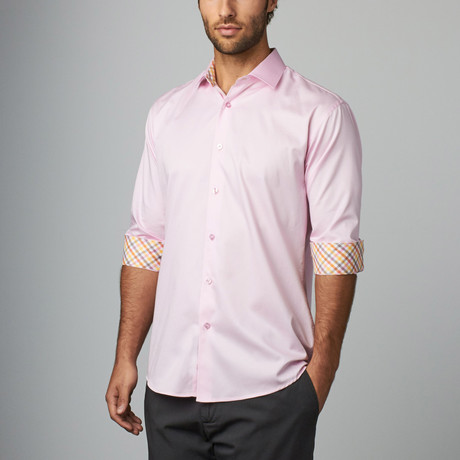 Plaid Placket Button-Up Shirt // Pink (S)