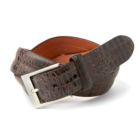 Double Barrel Embossed Vintage Croc Belt // Brown
