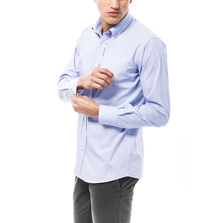 Eraldo dress shirt blue white 36 trussardi for Blue white dress shirt