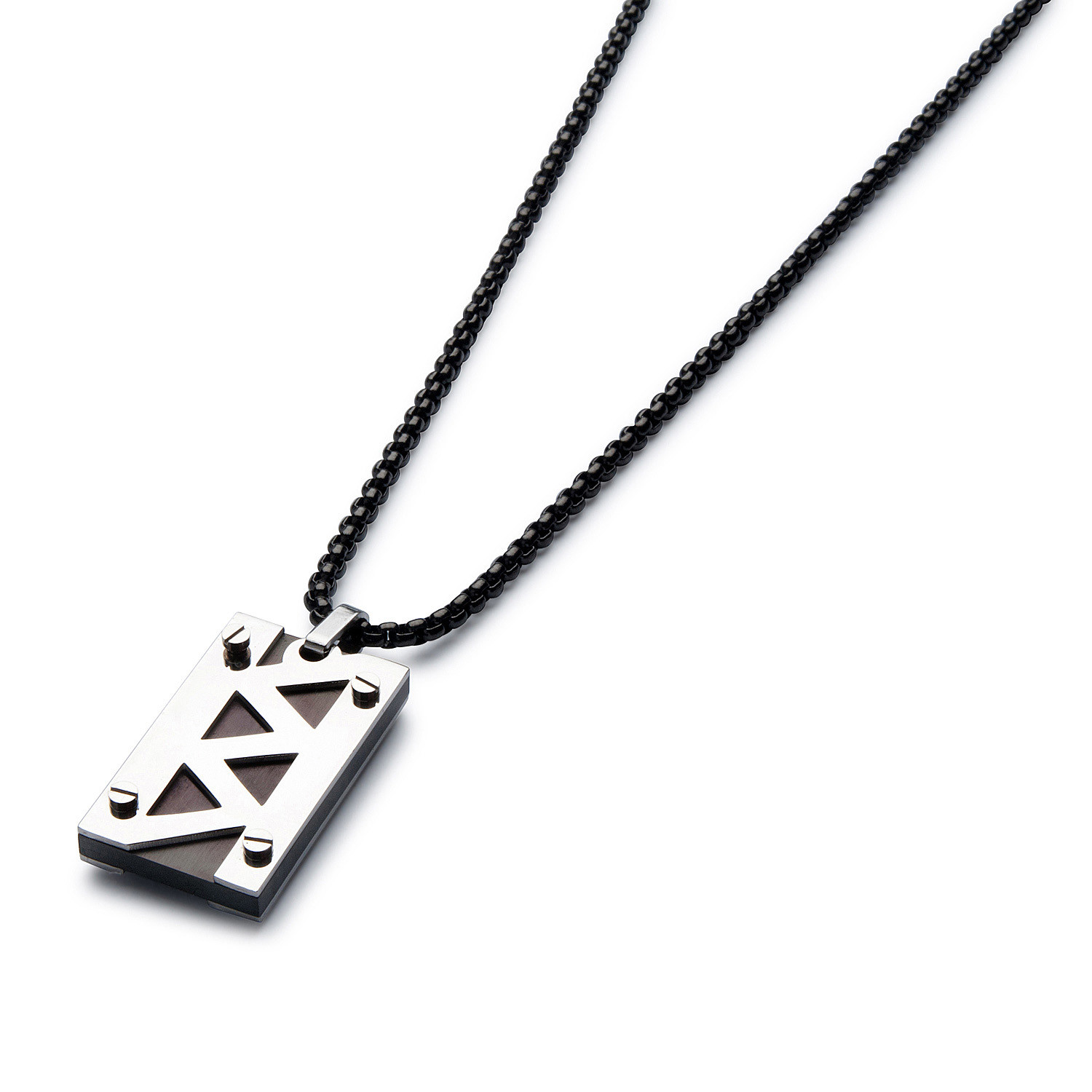 jagged bolt necklace      black cable chain