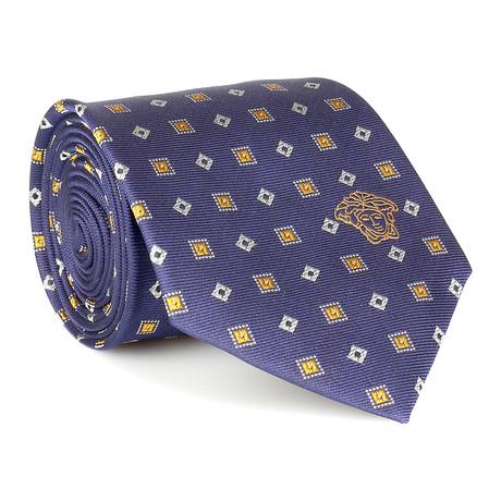 Patterned Silk Tie // Blue + Yellow