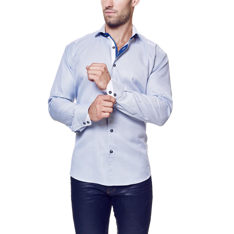 Wall street cross dress shirt blue white s maceoo for Blue white dress shirt