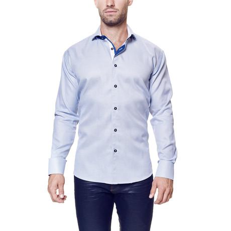Wall Street Cross Dress Shirt // Blue + White