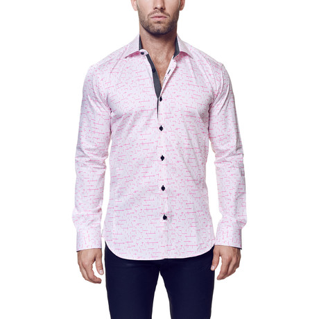 Wall Street Tetris Dress Shirt // Pink + Grey