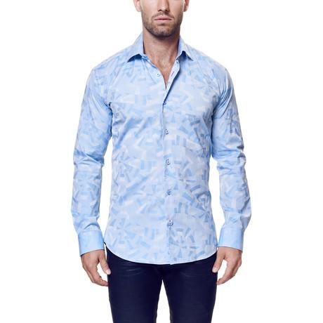 Luxor Geo Circle Dress Shirt // Light Blue