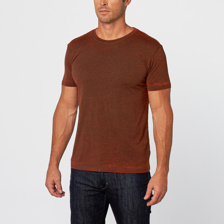 Chelsea Cross Dyed T-Shirt // Flame (XS)