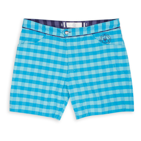 BEE Short Embossed Swim Trunk // Pacific + Blue