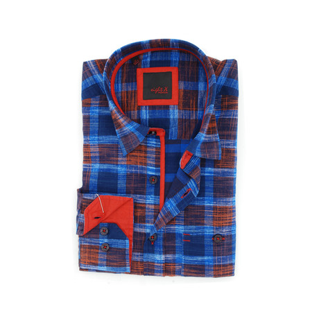 Plaid Button-Up // Red + Navy (S)