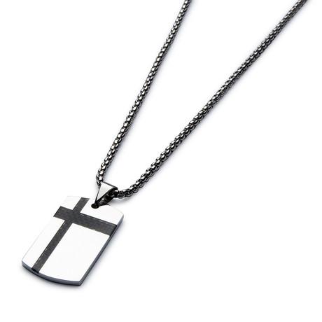 Black Carbon Fiber Necklace // Silver Cable Chain