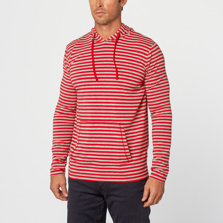 Jacob Stripe Hoodie // Red + White (S)