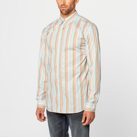 Stripe Casual Shirt // Turquoise, Orange