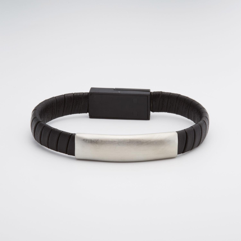 Leather Usb Interlocked Bracelet Black