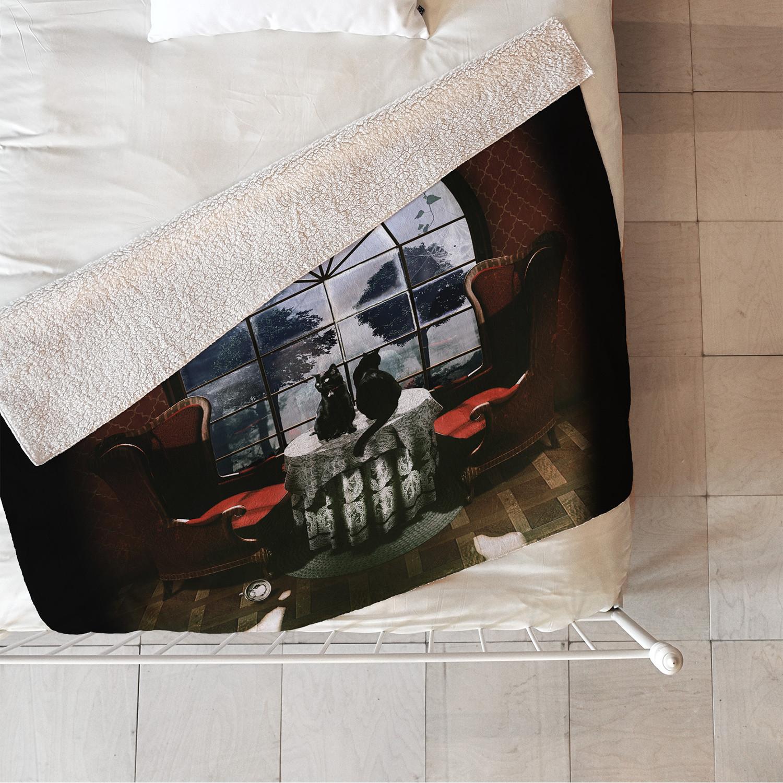 Room skull fleece throw blanket medium ali gulec for for Space design blanket