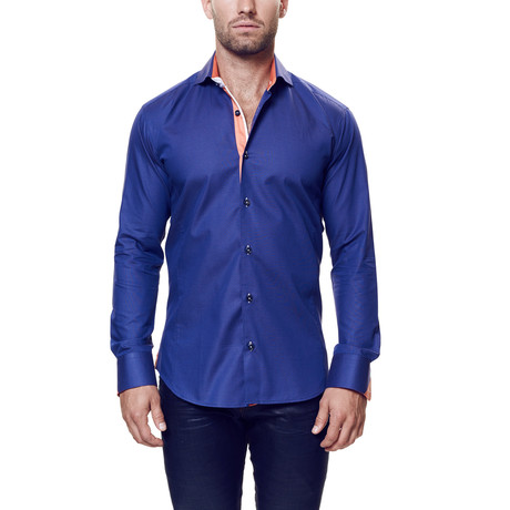 Wall Street Dress Shirt // Purple + Orange