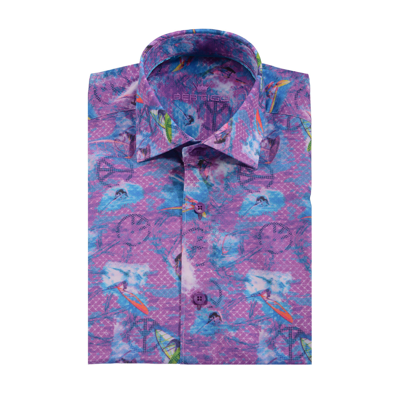 Hawaii button up shirt purple blue s bertigo for Purple and blue shirt