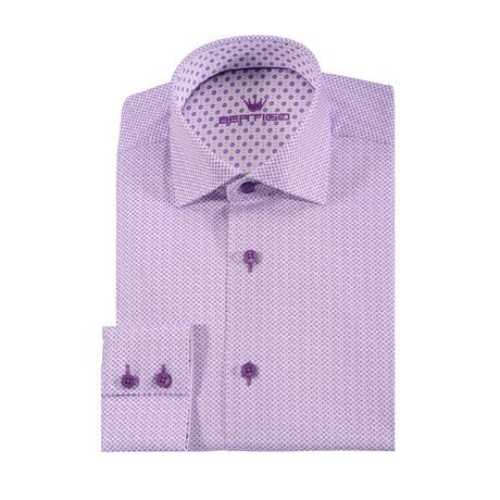 Moro Button-Up Shirt // Purple + White