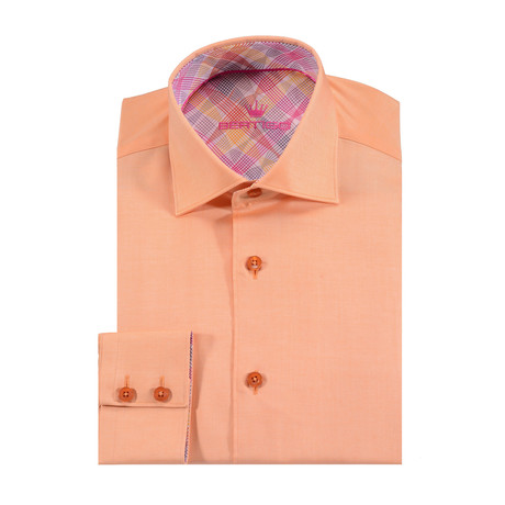 Rosso Solid Button-Up Shirt // Orange