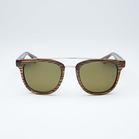 Polarized Modified Wayfarer // Olive + Gold Flash