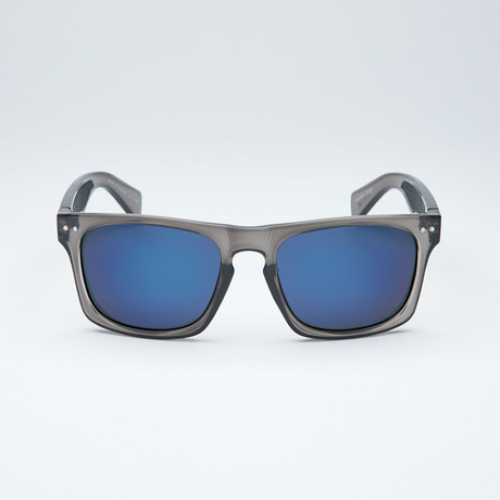 Polarized Modified Wayfarer // Dark Grey + Blue Mirror