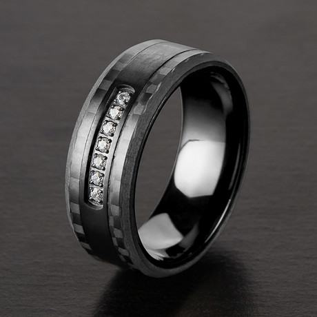 Semi Eternity Cubic Zirconia Ring // Black IP