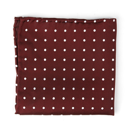 The Chief Pocket Square // Burgundy + White Polka Dot