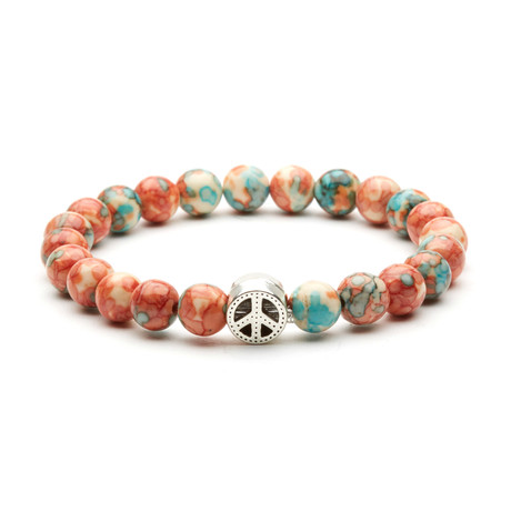 Peace Charm Bracelet // Silver + Multicolor