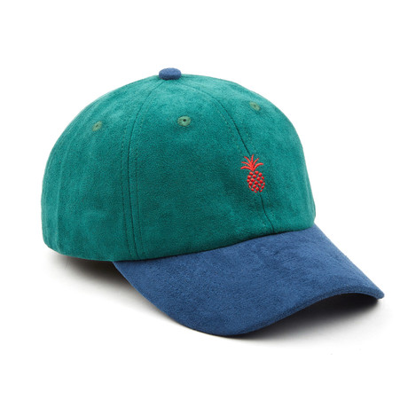 Pineapple Suede Dad Hat // Green + Blue