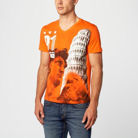 David Pisa V-Neck T-Shirt // Orange